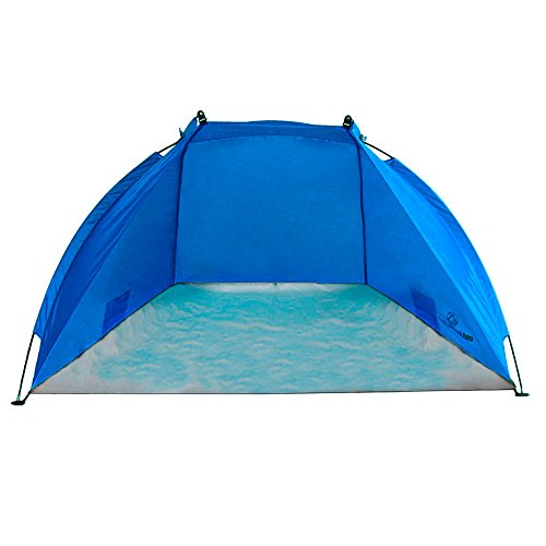 Outdoorer - tente de plage parasol coupe-vent Helios bleu, très légère UV 60