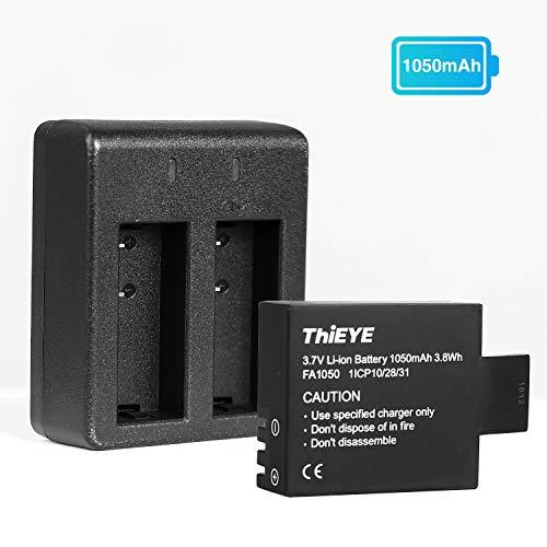 Batterie Camera Sport ThiEYE i60+ Batterie Rechargeable 1050 mAh avec Double USB Chargeur Kit de Batterie pour Caméra Action