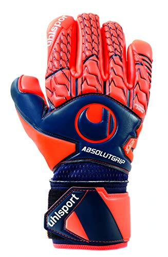 Uhlsport Next Level ABSOLUTGRIP Finger Surround GANTS DE GARDIEN DE BUT Adulte Unisexe, Bleu Marine/Rouge Fluo, 10