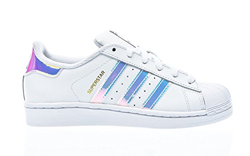 adidas Superstar, Baskets Basses Mixte Enfant, Blanc FTWR White/Metallic Silver SLD, 38 EU