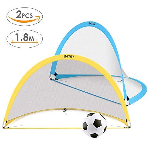 INTEY [ 2 PCS ] But de Football Enfant Pliable, 72 Pouces Cage de Food Pop-up de 2 Couleurs- Jaune et Bleu pour l'Extérieur avec Sac de Transport 182 x 106 x 106 CM