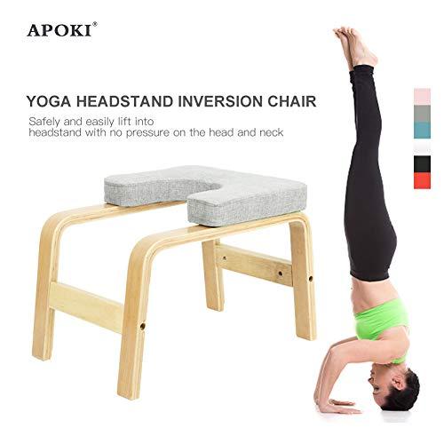 APOKI Tabouret De Poirier,Chaise D'Inversion De Yoga,Support Jusqu'à200kg,Appareil Yoga pour Entraînement D'Entraînement,Table d'Inversion Musculation Appareil