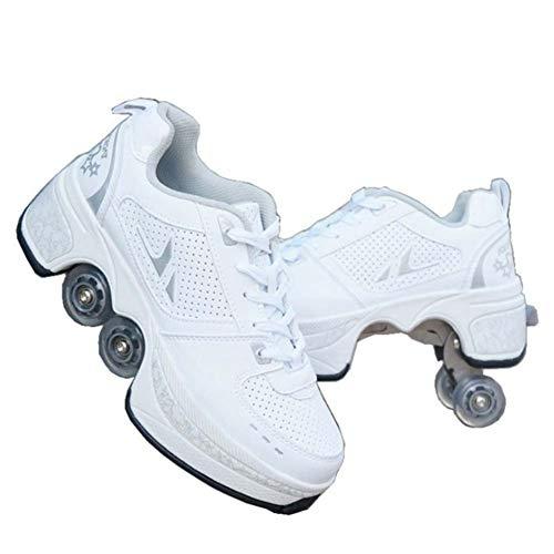 Fbestxie Roue Chaussures de Sport Chaussures de Skate à roulettes Chaussures roulettes Fille Et garçon Entraînement Roller Skate Chaussures avec roulettes Doubles Bouton Poussoir,40