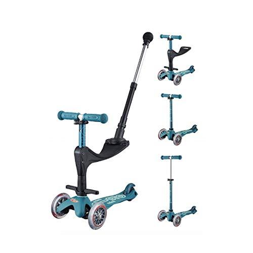 Micro-Mobility - Trottinette Mini 3-en-1 Deluxe - Trottinette Enfant Évolutive 3 Roues - Barre de poussée - Repose Pied - Siège en Mousse - Navigation par Transfert de Poids (Bleu Glacial)