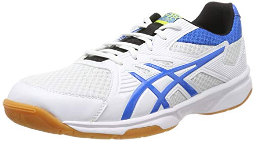 ASICS Upcourt 3, Chaussures de Squash Homme, Blanc (White/Electric Blue 104), 42.5 EU