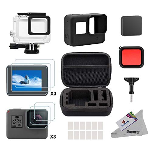 Deyard 25 en 1 Kit d'accessoires GoPro Hero 7(Seulement Noir) Hero(2018) GoPro Hero 6 Hero 5 avec Petit boîtier Antichoc pour GoPro Action Camera