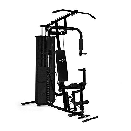 Klarfit Ultimate Gym 3000 station de musculation fitness (7 poids de 6 kg, un poids principal de 4,5 kg, plus de 30 exercices possibles, câbles en métal, entrainement complet) - noir