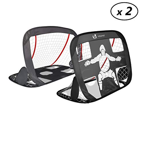 VOUNOT Cage DE Foot Portable - Lot DE 2 PCS | But de Football Pliable | Cage de Football Pop UP | Design 2 en 1 - But d'Entrainement - Cage de Foot Normale | avec Sac Rangement et Piquets