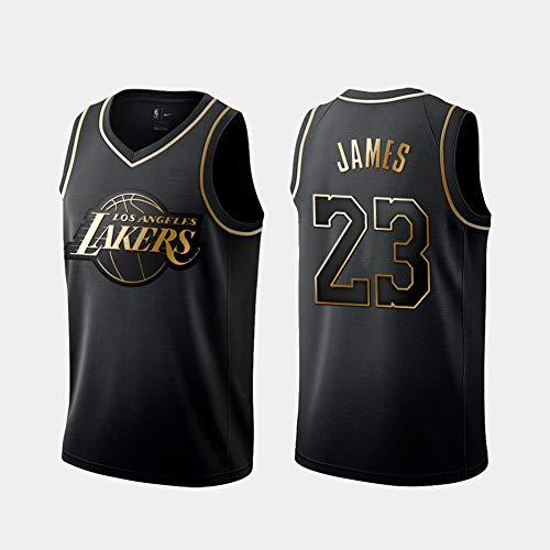 DCE Hommes Jersey Maillot Lebron James # 23 Lakers de Los Angeles Maillot Swingman Cousu Maillot de Basket (Noir & Or, L(50))