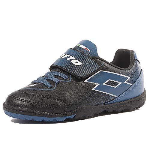 Lotto Spider 700 XV TF Jr S, Chaussures de Futsal Mixte Enfant, Noir (Blk/Blu Oil 010), 31 EU