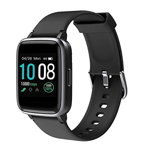 GRDE Montre Connectée Smartwatch, Bluetooth 5.0 Montre Sport Podomètre Moniteur de fréquence Cardiaque Sommeil SMS Appel 5ATM Imperméable Fitness Tracker pour Femme/Homme Android iOS