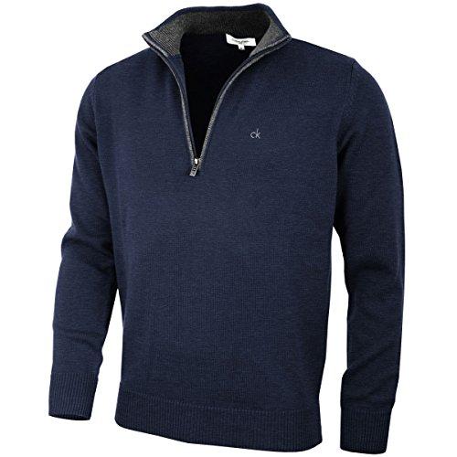 Calvin Klein Golf Hommes Pull en Coton - Marine - L