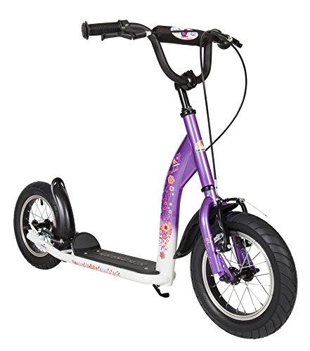 BIKESTAR Trottinette enfant 2 roues pour garcons et filles de 6-10 ans  Patinette enfant 12 pouces sportif  Lilas & Blanc
