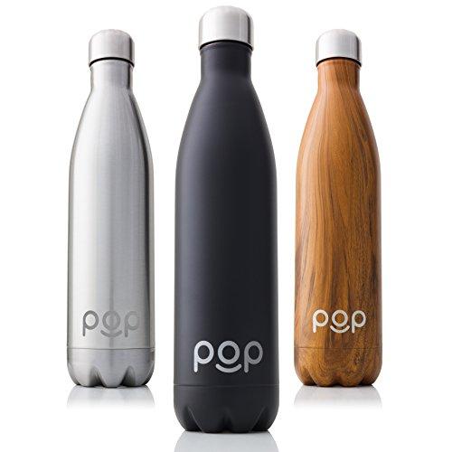 POP Design Bouteille d'eau Isotherme de Garde Froid 24h ou Chaud 12h | Isolant sous Vide en Acier Inoxydable | Anti-Condensation et Anti-Fuites | Goulot Étroit et sans BPA | 750 ML | Onyx