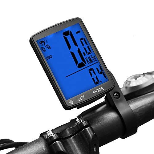 Dricar Compteur de vélo étanche sans Fil, écran LCD Backlight sans Fil Compteur kilométrique Compteur pour vélo Realtime Speed Track et Distance (Bleu)