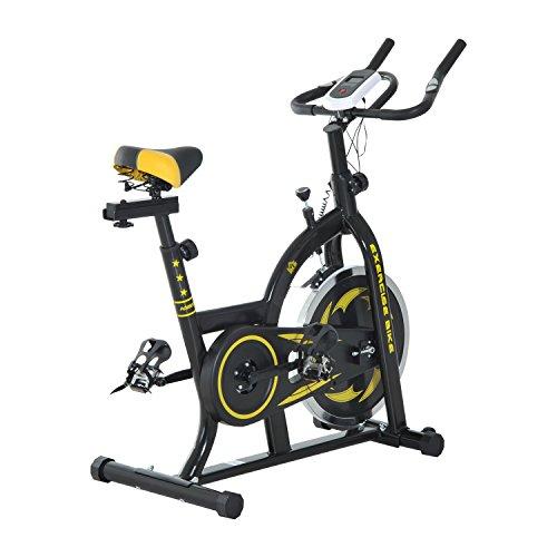 Homcom Vélo d'appartement Fitness Professionnel Cardio vélo Biking capteur pouls Volant d'inertie 10 Kg écran LCD Noir et Jaune