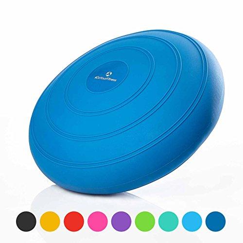 #DoYourFitness Balle Coussin »Blowup« avec Pompe/Idéal pour la préparation à l'accouchement/Coussin d'air antidérapant/Poids Maximal: 140kg & 33cm de diamètre/Couleur : Bleu
