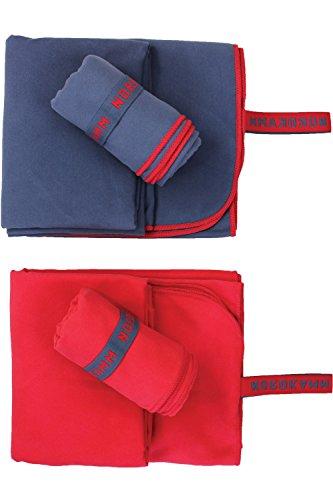 NORDKAMM – Serviette en Microfibre Certifié Oeko-TEX, Rouge, Ultra-Légère, Lot DE 2 Pièces: Petite 50x100 et Large 70x150, pour : Piscine, Sport, Voyage, Yoga, Bain, Plage, Fitness