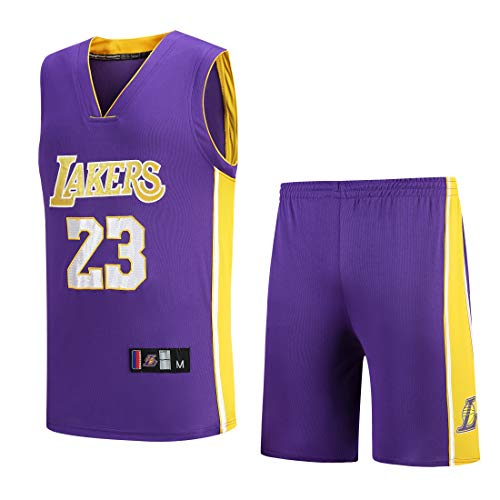 Basport Maillot NBA Lakers N ° 23, Costume Masculin de Basket-Ball James,A-Purple,M