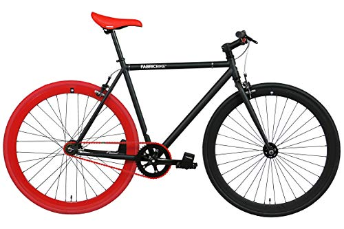 FabricBike- Vélo Fixie Noir, Fixed Gear, Single Speed, Cadre Hi-Ten Acier, 10Kg (M-53, Matte Black & Red)