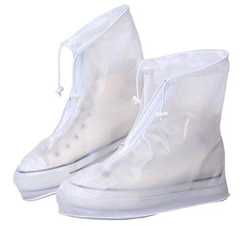 Surchaussures Pluie (1 paire), Eagsouni Couvre-chaussures Antidérapant semelles épaisse Vélo Moto Guêtre Botte Pluie Imperméable Homme Femme - Blanc - X-Large