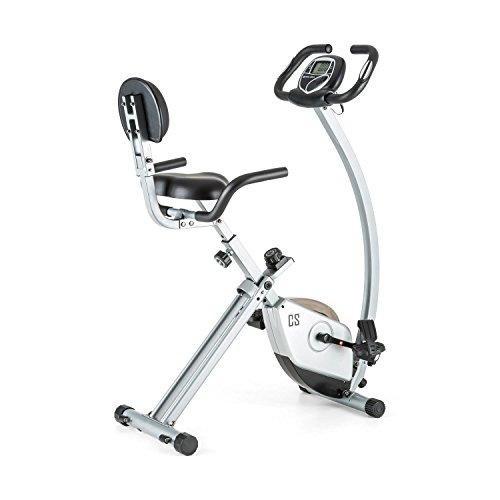 Capital Sports Trajector - Vélo d'appartement Fitness pour Exercices Cardio (siège Confortable avec accoudoirs, 8 Niveaux de résistance, Ordinateur de Bord à écran LCD, inertie 3kg)
