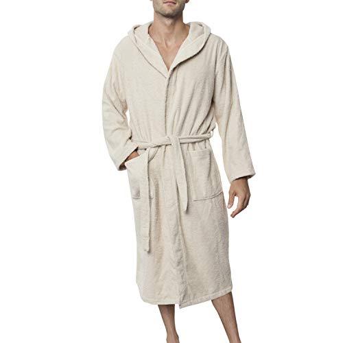 Twinzen Peignoir Homme (S, Beige Clair/Taupe) - 100% Coton, Certifié Oeko TEX - Peignoir Eponge Coton avec Capuche, 2 Poches, Ceinture - Sortie de Bain Douce, Absorbante et Confortable