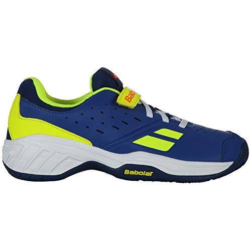 Babolat Enfants Pulsion Allcourt Kids Chaussures De Tennis Chaussure Tout Terrain Bleu - Jaune Citron 33