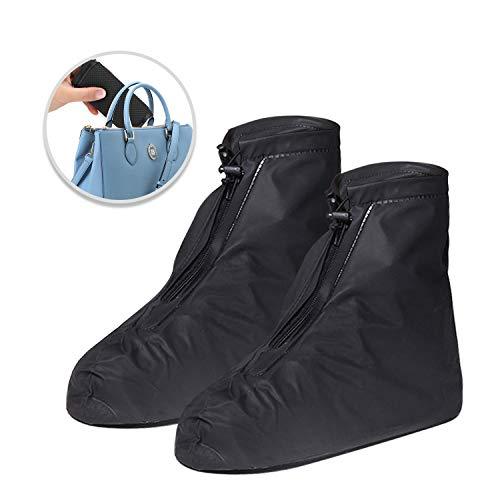TAGVO Couvre-Chaussures étanche, réutilisables imperméable à l'eau randonnée Chaussures de Pluie Couvre Chaussures légères Anti-dérapant Guêtre Botte épaisse Vélo Homme Femme Enfant(Noir)