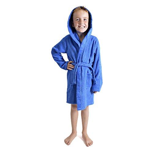 CityComfort Enfants Dressing Robe Enfants garçons Filles Capuche Peignoir Peignoir 100% Coton éponge Serviette de Bain Robe Douce Usure de Salon 7-13 Ans (13, Bleu Royale)