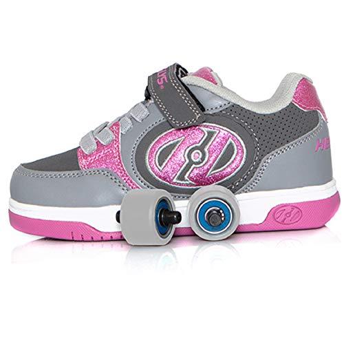 Heelys Plus X2 | Chaussures à roulettes pour les filles | Gris / Rose, 34 EU