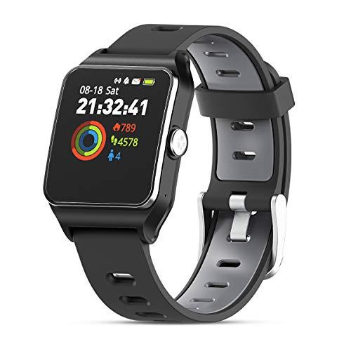 HolyHigh GPS Montre Connectée Montre Sport Podomètre Bluetooth Smartwatch IP68 Etache détection de la fréquence Cardiaque Montre Intelligente pour iOS Samsung Sony Huawei Android Homme Enfant Noir