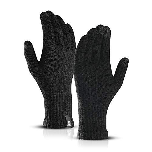 Gants Chauds d'hiver Écran Tactile Gants pour Hommes Femme Sport Anti-dérapant Tricot Gants Thermiques d'extérieur Conduite Gants en Laine Imperméable pour Passer Un Appel, parcourir(Noir)