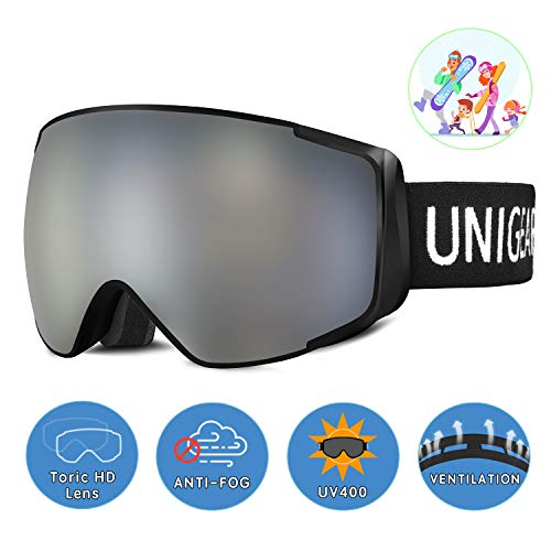 Unigear Lunettes de Ski, Skido X2 Lunettes de Snowboard Hyperboloïde Anti-buée, Ski Goggles Anti-UV400 Adapté pour Les Activités Ski Snowboard pour Un Père/Une Mère et Un Fils/Une Fille