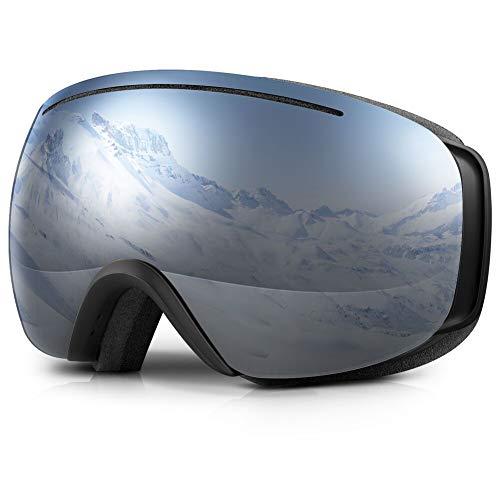 Terra Hiker Masque de Ski Lunettes de Ski Large Vision pour Homme, Femme et Adolescent, Protection 100% Contre UV et Lentille Interchangeable (VLT 18,5%)