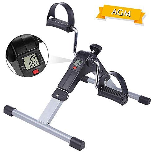 AGM Mini Vélo d'Appartement, Pédalier Pliable Pratique Léger Facile à Utiliser Ranger Pédaler Résistance Réglable écran LCD Appareil pour Travailler Les Jambes et Les Bras (Argent-Pédalier)