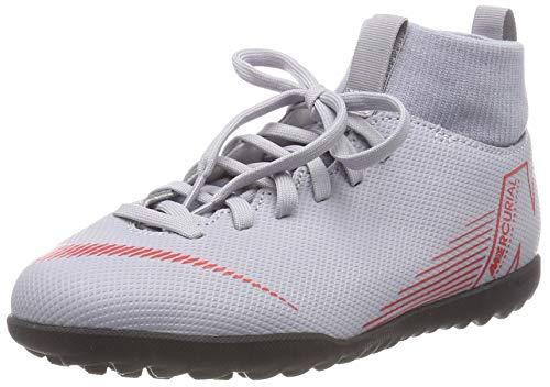 Nike Jr Superfly 6 Club TF, Chaussures de Futsal Mixte Enfant, Multicolore (Wolf Grey/Lt Crimson/Black 060), 38 EU