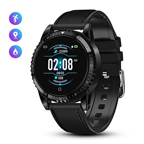 GOKOO Montre Connectée Smartwatch Homme Bluetooth Montre Sport Bracelet Cuir avec Moniteur de Fréquence Cardiaque IP68 Montre Intelligente Fitness Tracker d'Activité pour Android iOS (Noir)