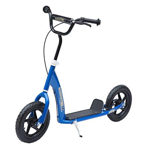 Homcom Trottinette patinette Enfants à partir de 5 Ans pneus 30 cm Guidon réglable poignée Frein et béquille Acier Bleu