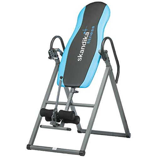 SKANDIKA Gravity Coach - Table d'inversion Pliante pour Exercices du Dos (4 Positions, Rembourrage Mousse, 135kg) - Gris/Bleu