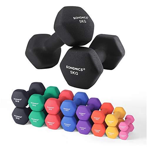 SONGMICS Haltère 1 Paire 2 x 5 kg Salle de Sport Musculation Entraînement Revêtement en Vinyle antiglisse SYL60BK