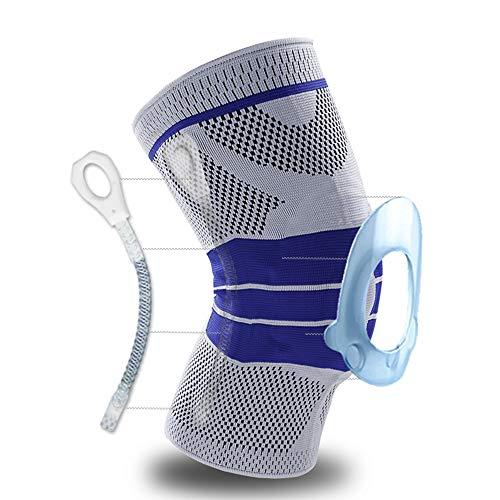 Manchon de compression à genouillère avec stabilisateurs latéraux + coussin en gel de rotule en silicone pour déchirure du ménisque, arthrite, jogging, sport, course à pied (simple) (M, Gris)