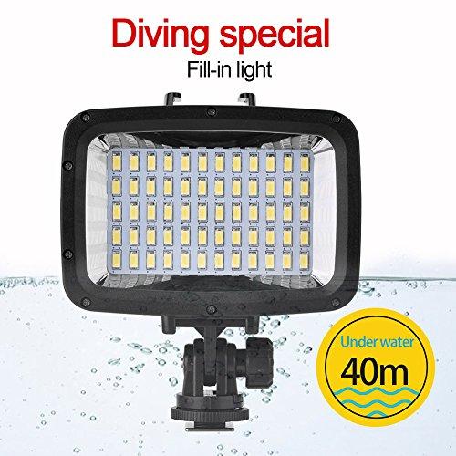 Qinlorgo étanche LED caméra lumière, 40 m/130ft étanche sous-Marine plongée 60 LED Lampe de Remplissage de lumière vidéo pour Appareil Photo et Smartphone