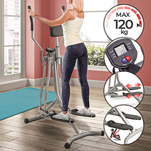Nova Cross Trainer avec écran LCD, Charge maximale 120 kg, capteur de fréquence Cardiaque et Support Abdominal, Acier - Air Walker, Stepper avec Guidon