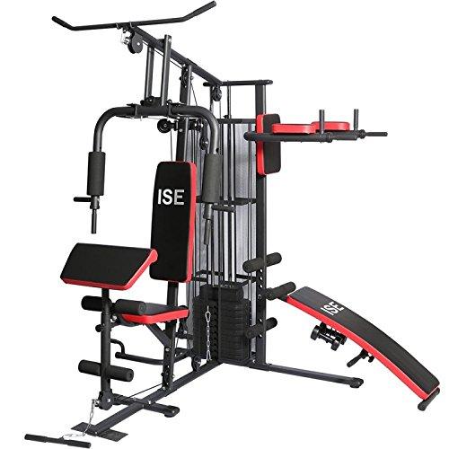 ISE Station de Musculation/Appareil de Musculation Fitness Multifonction Home Gym Complet avec Poids,Entraînement de Bras/Épaules/Poitrine/Abdomen/Dos & Jambe,SY-4009