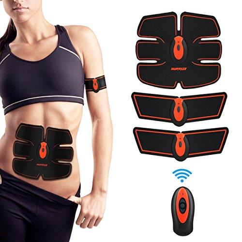 HURRISE Appareil Abdominal Muscle Stimulateur,Electrostimulateur Musculaire Abdomen/Bras/Jambes/Fesses, USB Rechargeable (Homme/Femme) (10 Niveaux d'intensité)