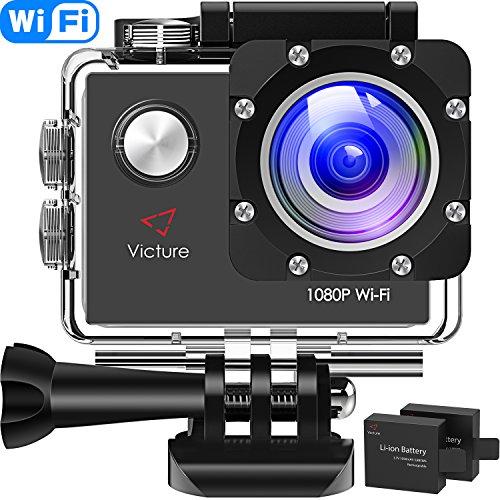 Victure Caméra Sport Wi-FI Full HD 1080P Appareil Photo Caméscope Étanche 30M sous-Marine Grand Angle 170°Écran LCD 2.0 et 2 Batteries Rechargeables 1050mAh avec Kit d'accessoires
