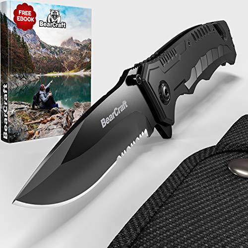 BearCraft Couteau pliant Noir | Couteau de Poche de Survie Extérieur Avec des Vagues |  Acier Inoxydable et Boîtier en Aluminium Noir |