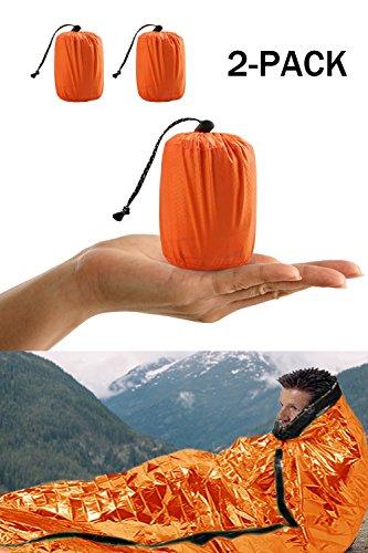 Shayson Sac de Couchage de Survie, Sac de Bivouac d'urgence PE Film en Aluminium Couverture d'urgence Bushcraft pour Le Camping en Plein air et la randonnée 2 Paquet