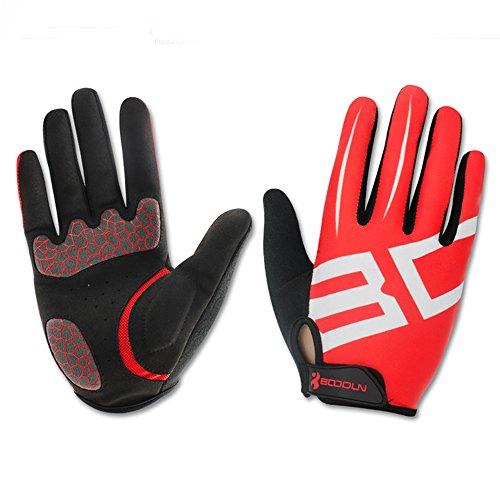 Gants de Cyclisme Velo VTT Fitness Elastique Respirable - Noir/Rouge - Unisex - Taille L